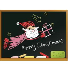 school blackboard with santa claus vector image vector image
