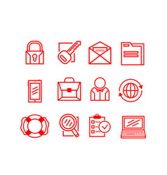 set of business icons on a white background vector image vector image