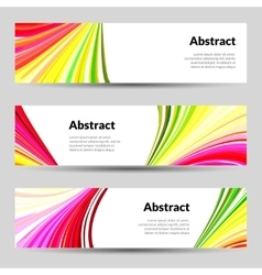 Set of Colorful Curved Lines Backgrounds Banners vector image