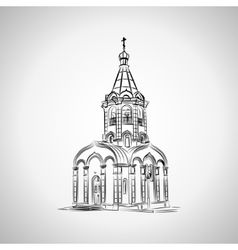 Sketch of the Christian chapel on a light vector image