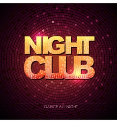 Typography disco background night club vector