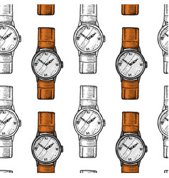 wristwatch seamless pattern or wristlet watch vector image