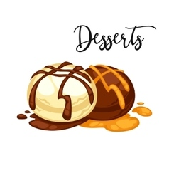 Delicious sweet dessert cartoon vector