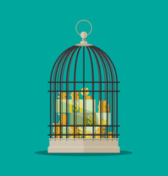 Coins and dollar bills stacks in cage vector