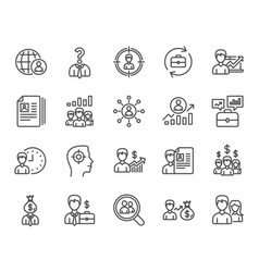 Human resources icons head hunting job signs vector