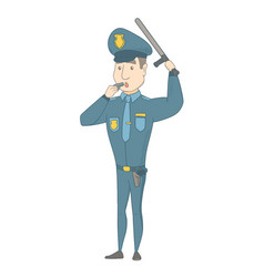 Young caucasian police officer whistling vector