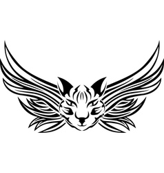 Head of cat with wings tattoo stencil vector