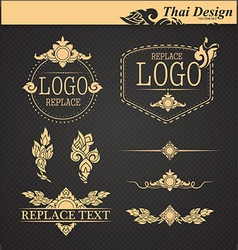 set thai art design elements vector image