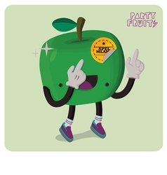Green apple character isolated vector