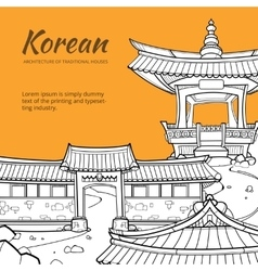 Background with korean architecture of traditional vector