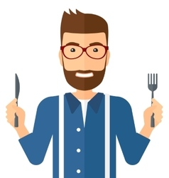 Hungry man waiting for food vector