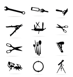 black silhouettes of tools symbols set vector image