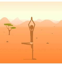 Yogi standing in the tree pose in the desert vector