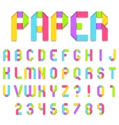 Folded color paper font vector