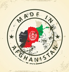Stamp with map flag of Afghanistan vector image