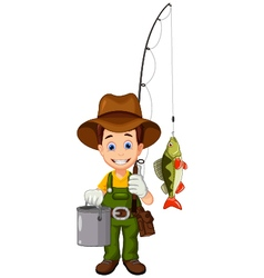 Funny cartoon fisherman and fish vector