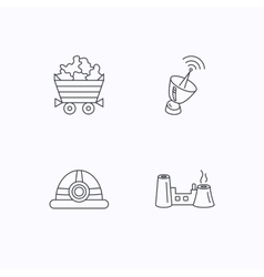 Antenna minerals and engineering helm icons vector