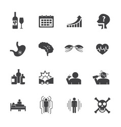 alcoholism icons set flat design vector image vector image