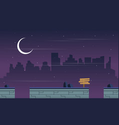 At night city scenery for game background vector