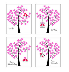 Birds and trees valentine graphics vector