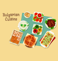 Bulgarian cuisine icon design with national food vector
