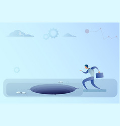Business man run in hole problem finance crisis vector