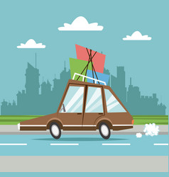 Car with packages city background vector