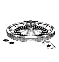 Casino roulette wheel hand draw sketch vector