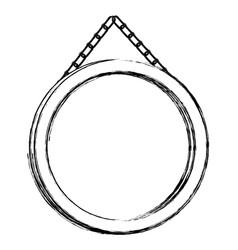 Contour circular painting frame icon vector