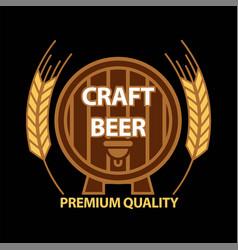 craft beer on barrel vector image
