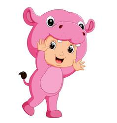 Cute boy cartoon wearing hippopotamus costume vector