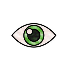 Drawing human eye optical vision design vector