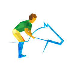 Equestrian sport with green and yellow patterns vector