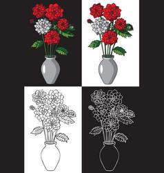 flowers dahlias in vase vector image vector image