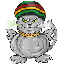 Fun jamaican angry cat vector