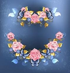 Garland of pink roses vector
