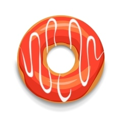 Glazed donut icon cartoon style vector