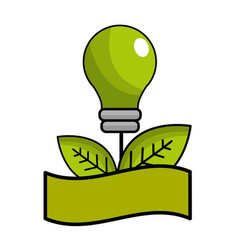 Green bulb with leaves and ribbon vector
