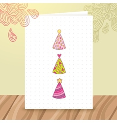 Happy birthday postcard template with funny hats vector