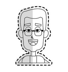 Happy man with glasses cartoon icon image vector