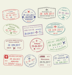 icons of city passport stamps world travel vector image
