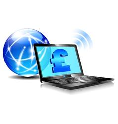 Internet laptop money pound pay online vector