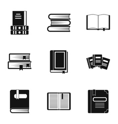 Library icons set simple style vector
