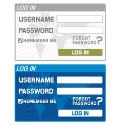Log in form with username and password fields vector