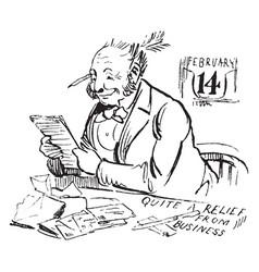 Man reading letter envelope vintage engraving vector