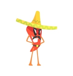 Mexican bandit red hot chili pepper humanized vector