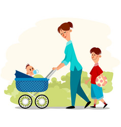 Mother with two children vector