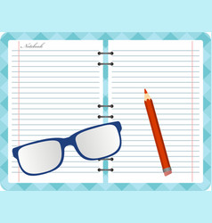 notepad with folded glasses and red pencil vector image