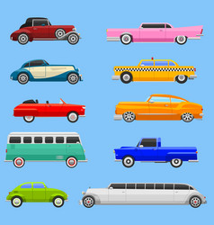 Retro car vehicle transport collection retro old vector