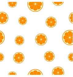Seamless pattern with orange slices vector